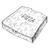 Hand Drawn Illustration Of Box To Go With Pizza Royalty Free Stock Photography