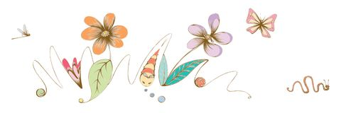Hand Drawn Illustration Of Flowers Butterfly Dragonfly Royalty Free Stock Photography