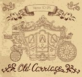 Hand drawn illustration with old carriage and banner Royalty Free Stock Images