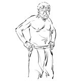 Hand drawn illustration of an old man, black and white drawing. Royalty Free Stock Image