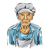 Hand drawn illustration of an old man on white Stock Image