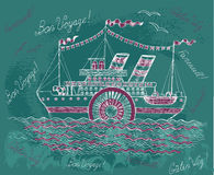 Hand drawn illustration with old steam ship Royalty Free Stock Photography