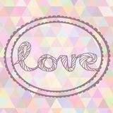 Hand drawn illustration with ornament love sign. With triangles backdrop. Graphic colorful pastel color flower frame Stock Photo