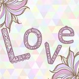 Hand drawn illustration with ornament love sign. With triangles backdrop. Graphic colorful pastel colors flowers frame Stock Photography