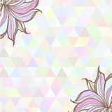 Hand drawn illustration with ornament  with. Hand drawn illustration with ornament with triangles backdrop. Graphic colorful pastel color flowers frame Royalty Free Stock Image