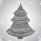Hand drawn  illustration with ornamental Christmas Tree Royalty Free Stock Photo