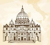 Hand drawn illustration of Papal Basilica of St. Peter in the Vatican. Beige travel background with map of Italy and place for your text stock illustration