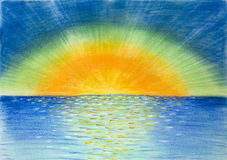 Hand drawn illustration of beautiful colorful sunrise. Hand drawn illustration, in pastel chalk technique, showing a sunrise which reflects and shines in the Stock Photo