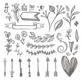 Hand drawn Illustration pattern on hearts, bows, arrows and othe Royalty Free Stock Photography