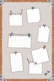 Hand drawn illustration of pin board with pins and empty note papers Royalty Free Stock Photo