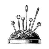 Hand drawn illustration of pin cushion. Vector black-and-white hand drawn illustration of pincushion in vintage engraved style. isolated on white background Royalty Free Stock Photos