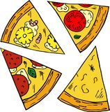 Hand drawn illustration of pizza in cartoon style. vector illustration