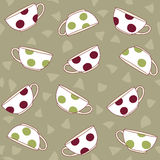 Hand-drawn Illustration with Polka Dot Tea Cups . Seamless vecto Stock Photo