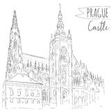 Hand drawn illustration of Prague Castle, Czech Stock Images
