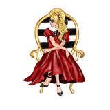 Hand drawn Illustration - pretty Blonde Girl Sitting on chair wearing red dress Stock Image