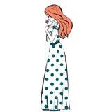 Hand drawn illustration princess girl in polka dot dress vintage Stock Images