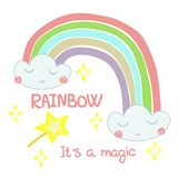Hand drawn illustration of a rainbow out of the clouds. And hand lettering it`s a Magic stock illustration