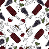 Hand Drawn Illustration. Red wine, glasses of wine, grapes, coff. Ee. Paris theme. Vector Seamless Pattern For Textile Or Book Covers, Manufacturing, Wallpapers Stock Photography