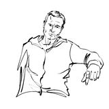 Hand drawn illustration of a relaxed sitting man Royalty Free Stock Photos