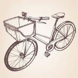 Hand drawn illustration of  retro bicycle. Hand drawn retro bicycle. Vector Stock Photo