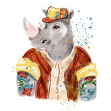 Hand drawn illustration of rhinoceros man dressed up in cool clothes. Royalty Free Stock Image
