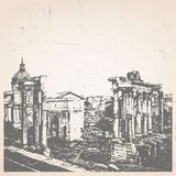 Hand-drawn illustration of Rome. Roman Forum. Italy. Vector Stock Photo