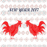 Hand drawn  illustration of roosters with tribal elements. 2017 is the year of Red Fire Chicken on Chinese zodiac. Can use them for greeting card, calendar Stock Photo