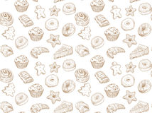 Hand drawn  illustration - Seamless pattern with sweet and dessert. Yummy background Stock Photos