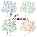 Hand-drawn illustration with seasons. stock illustration