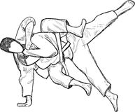 An hand drawn illustration  from series Martial Arts: JUDO Stock Image