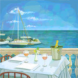 Hand drawn illustration with served restaurant table for two against seascape Royalty Free Stock Image