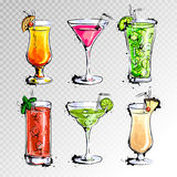 Hand drawn illustration of set of cocktails Stock Image