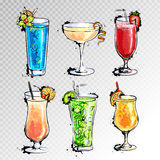 Hand drawn illustration of set of cocktails. Hand drawn illustration of set of artistic cocktails Stock Photo
