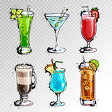 Hand drawn illustration of set of cocktails. Hand drawn illustration of set of artistic cocktails Royalty Free Stock Image
