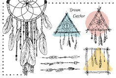 Hand drawn illustration - Set of Dream catchers. Tribal design Royalty Free Stock Photography
