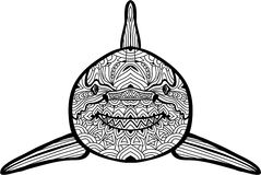 Hand-drawn illustration. The shark. Coloring book Royalty Free Stock Photo
