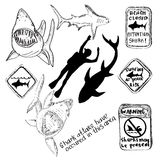 Hand drawn  illustration. Sharks, divers Stock Image