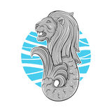 Hand drawn illustration of Singapore symbol lion with fish tail. Stock Photography