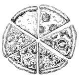 Hand drawn illustration of pizza. six pieces. Hand drawn illustration of six pieces of pizza. picture stock illustration