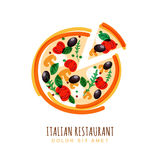 Hand drawn illustration of sliced italian pizza with tomato, mushrooms, olives, basil, and mozzarella. Vector logo design template. Trendy concept for Royalty Free Stock Photos