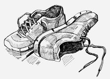Hand Drawn Illustration of sneakers Royalty Free Stock Photos