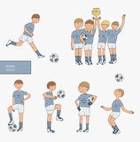 Hand drawn  illustration with soccer players, isolated on white background. Football stuff, happy winning team, training boy Royalty Free Stock Photos