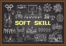 Hand drawn illustration about Soft Skill on chalkboard. Vector illustration. Hand drawn illustration about Soft Skill on chalkboard. illustration stock illustration