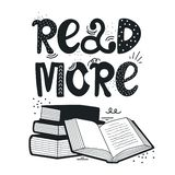 Hand drawn illustration with stack of books and lettering. Read more books. Black and white background stock illustration
