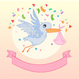 Hand drawn illustration - Stork brought newborn. Vector. Royalty Free Stock Images