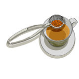 Strainer and cup of tea Royalty Free Stock Images
