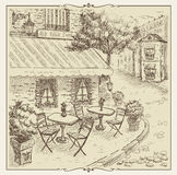 Hand drawn illustration, street cafe in old town. Royalty Free Stock Photo