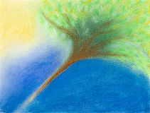 Hand drawn illustration of tree in sunlight. Hand drawn illustration of a stylized tree under the sun, in pastel chalk technique Stock Image