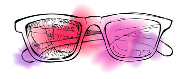 Hand drawn illustration -  sunglasses. Line art and watercolor Stock Image