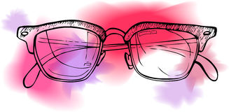 Hand drawn illustration -  sunglasses. Line art and watercolor Royalty Free Stock Photography